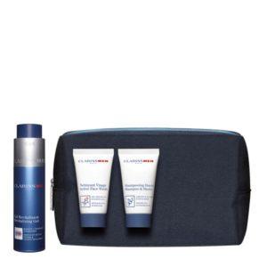 Estuche Clarins Men Set Revitalizing Gel 50ml + Active Face Wash 30ml + Shampooing Douche 30ml + Bag