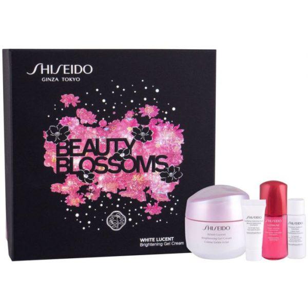 Estuche Shiseido White Lucent Brightening Gel Cream 50 ml Clarifying Cleansing Foam 5 ml + Treatment Softner 7 ml + Ultimune 10 ml + Makeup Self Refreshing Foundation Card ( 4 shades)