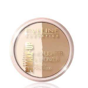 Eveline Highlighter And Bronzer Pressed Powder Duo Face Make Up Dark Glam